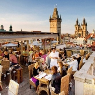 Rooftop restaurant Terasa U Prince with the view on Old Town Prague
